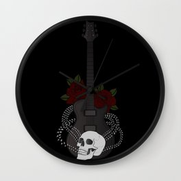 Skull and Guitar Wall Clock