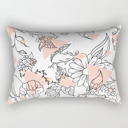Modern hand drawn floral black illustration abstract blush pink geometric triangles Rectangular Pillow