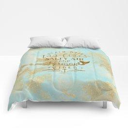 Beach - Mermaid - Mermaid Vibes - Gold glitter lettering on teal glittering background Comforters