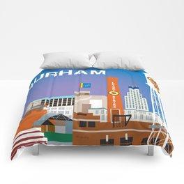 Durham, North Carolina - Skyline Illustration by Loose Petals Comforters