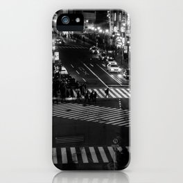 Shibuyacrossing at night - monochrome iPhone Case