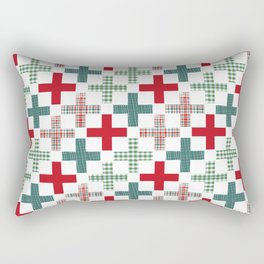 Swiss cross christmas minimal pattern red and green holiday festive pattern gifts Rectangular Pillow