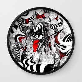 Gene simmons in lines Wall Clock