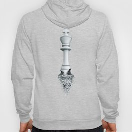 Farewell to the Pale King / 3D render of chess king breaking apart Hoody