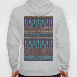 Gold Teal and Purple Arrows Tribal Aztec Pattern Hoody