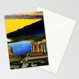 Sicily, Ruins of the Greek Theater at Taormina by Csontvary Kosztka Tivadar Stationery Cards