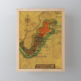 Map Mermaid Cabo de Gata Framed Mini Art Print
