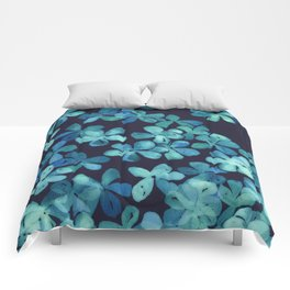 Hand Painted Floral Pattern in Teal & Navy Blue Comforters