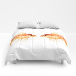 Goldfish Love Watercolor Fish Painting Comforters