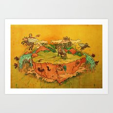 Flying cows rodeo Art Print