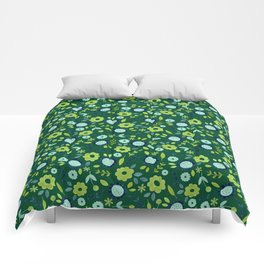 Green and blue meadow pattern Comforters