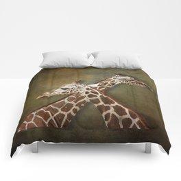 Giraffes Passing in the Night Comforters