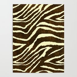 Animal Print Zebra in Winter Brown and Beige Poster