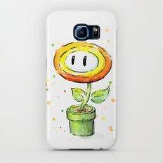 Fire Flower Watercolor Painting Mario Game Geek Art Slim Case Galaxy S6
