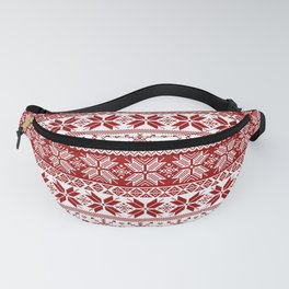 Red Winter Fair Isle Pattern Fanny Pack