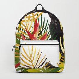 Black Cat Jungle Flower Backpack