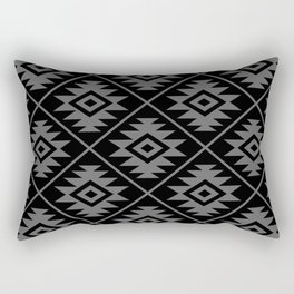 Aztec Symbol Pattern Gray on Black Rectangular Pillow
