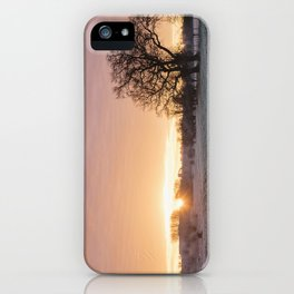 Frost covered field at sunrise. Cressingham, Norfolk, UK. iPhone Case