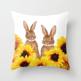Two Rabbits Sunflower field Throw Pillow