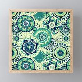 Folk Mandala (green) Framed Mini Art Print