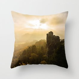Elbe Sandstone Mountains Throw Pillow