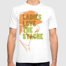 Ladies Love the Mustache MEDIUM White Mens Fitted Tee