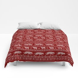 Ugly christmas sweater | Border collie red Comforters