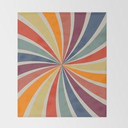 Spiral Stripe Retro Rainbow Throw Blanket
