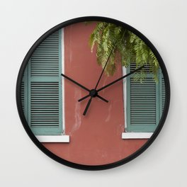 New Orleans Teal Shutters Wall Clock