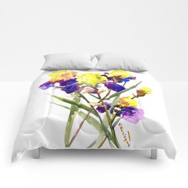 Garden Iris Floral Artwork Yellow Purple Blue Floral design, bright colored floral design Comforters