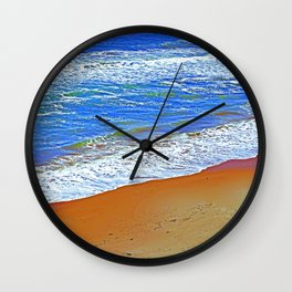 """""""Waves Of Rincon Beach #2"""" with poem: Enduring Ocean Wall Clock"""