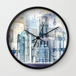 Blue City Scape Wall Clock