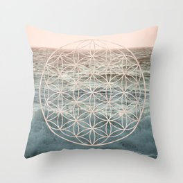 Mandala Flower of Life Sea Throw Pillow