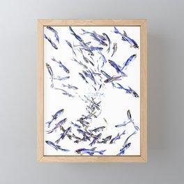 Shoal, Fish, Fishing, Beach, fishing design, sea world art, ocean sea fish Framed Mini Art Print