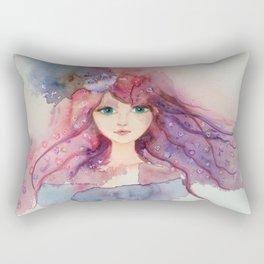 Watercolor Flower Girl Lilac Pink Purple Hair Rectangular Pillow