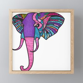 Pink Pastel Afro Print Elephant Framed Mini Art Print