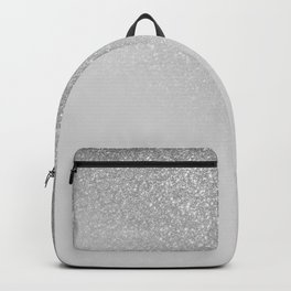 Diagonal Gray Silver Glitter Gradient Ombre Backpack