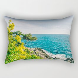 Yellow flowers on the seacoast of Cap Martin in a sunny winter day Rectangular Pillow