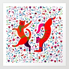 Dancing cats among spring flowers, swing & rock. Chats dansant dans les fleurs de printemps Art Print