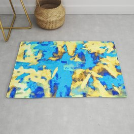 splash painting texture abstract background in blue and yellow Rug