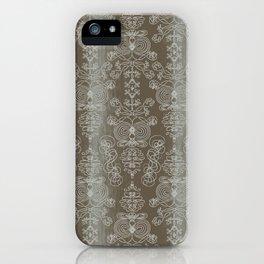 Elena, battleship grey ornate iPhone Case