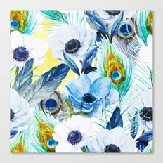 Watercolor Peacock Feather Pattern Canvas Print