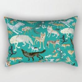 Wolves of the World Green pattern Rectangular Pillow