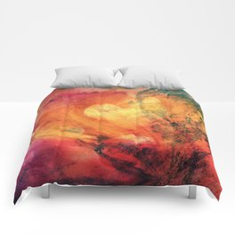 A leaf In The Wood Aflame Abstract Comforters