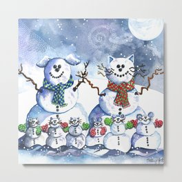 It's Snowing Cats and Dogs (and Mice too) Metal Print