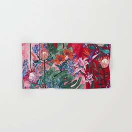 Ruby Red Floral Jungle Hand & Bath Towel