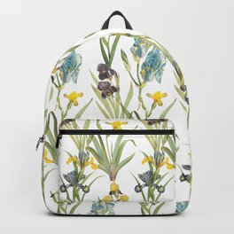 Irises 1 | Iris Flowers | Vintage Floral Pattern | Flower Patterns | Backpack