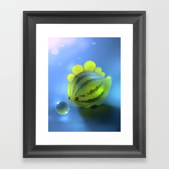 Watermelon Dino Framed Art Print