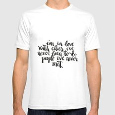 Inspiring quote // Brushlettering White X-LARGE Mens Fitted Tee