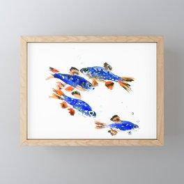 Pearl Danio Fish, Blue red aquatic design decor Framed Mini Art Print
